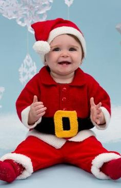 Santa Baby Suit Free Knitting Pattern from Red Heart Yarns