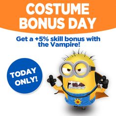 It's Costume Bonus Day in Despicable Me: Minion Rush! Play with the Vampire Minion Costume today to get a special bonus! Let's go! http://gmlft.co/PlayDM_FB #minions  #minionsworld #banana #minionslove  #minionsmovie #minionsrule #minionscake #minionsstyle  #minionsparty  #minionmovie #minionmoments