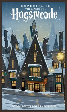 Experience the magic of hogsmeade - nicolas rix harry potter poster, harry potter theme, Harry Potter Poster, Arte Do Harry Potter, Harry Potter Universal, Harry Potter World, Hogwarts, Harry Potter Wallpaper, Vintage Travel Posters, Fantastic Beasts, Illustrations Posters
