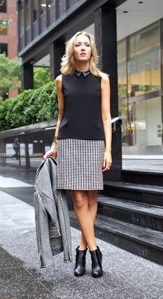 The Classy Cubicle: Doubling Down. The fashion blog for professional women who need office style inspiration and work wear ideas for the corporate world and beyond. {tory burch, zara, seychelles, j. crew, essie, leather collar, houndstooth pencil skirt, herringbone jacket, cuff bracelet, black booties, ankle boots, fall fashion trends}
