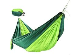 JUNMO Lightweight Outdoor Camping Hammock with Hanging Rope and Carabiners SingleDouble Parachute Nylon Fabric Dark greenGreen -- Details can be found by clicking on the image.(This is an Amazon affiliate link and I receive a commission for the sales)