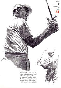 GOLF print of Golf pro lesson on the Grip, 1960s illustration black line art
