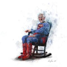 Super Grandpa by Lisa Aisato William Turner, Hug You, Good Morning Images, Funny Art, Rocking Chair, Gouache, Printer, Lisa, Artsy
