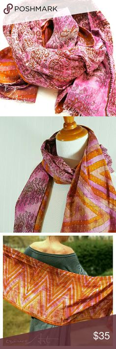 """Lightweight Handmade Cotton Vintage Kantha Wrap One of a kind handcrafted scarf made from 2 layers of patched vintage Indian cotton sarees stitched together with delicate fine running stitches, called Kantha Work. Can be worn on head, around shoulders or neck, around the waist or any way your imagination will take you!  ?100% Organic Cotton ?Reversible ?Hand wash, hang to dry ?Imported from India ?Approx 19"""" X 70""""  Vintage Sari material and kantha stitches may have small imperfections…"""