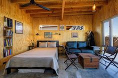 Llano Exit Strategy - industrial - exterior - austin - by Matt Garcia Design Plywood Interior, Plywood Walls, Plywood Ceiling, Interior Walls, Industrial Bedroom, Industrial House, Industrial Lighting, Cabin Design, House Design