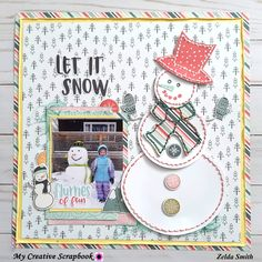 On New year's day we had a little snow and it was the perfect kind of snow to make a snowman, which is why I just had to paper piece a… Baby Scrapbook Pages, Scrapbook Templates, Scrapbooking Layouts, Scrapbook Cards, Make A Snowman, Snowman Cards, Photo Layouts, Simple Stories, Winter Christmas