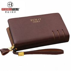 Men's Cow Split Leather Wallets Business Long FEIDIKAPOLO Brand Clutch Male Double Zipper Purses Portemonne Portafogli Uomo