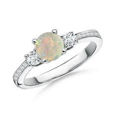 Angara Four Prong Three Stone Oval Opal and Diamond Ring geyUT
