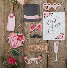 Boho Wedding Photo Booth Props. Ideas for a DIY wedding. From Wedding favours to DIY wedding decorations, wedding photo booth props, tableware and more. Save money with DIY wedding decorations.