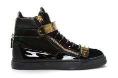 Giuseppe Zanotti High top velvet sneakers in dark green