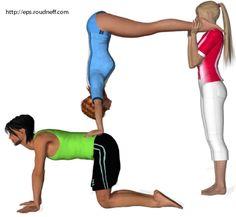 easy 3 person triangle yoga  sección de fotos  posturas