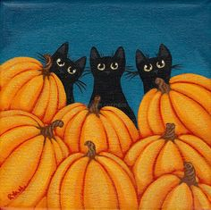 Halloween Black Cats and Pumpkins Original Folk Art Painting