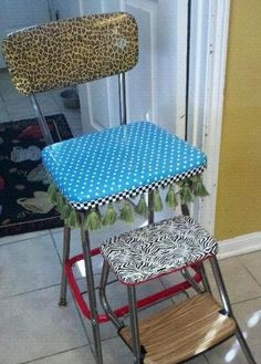 I am doing this with just such a vintage stool chair: covering with duct tape | This old-school high chair was lovingly reuphulstered using duct tape ...though mine will not be this design...