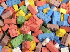 Build'Em and Eat'Em! Assorted fruit flavor dextrose candy blocks in assorted sizes, just like Legos!