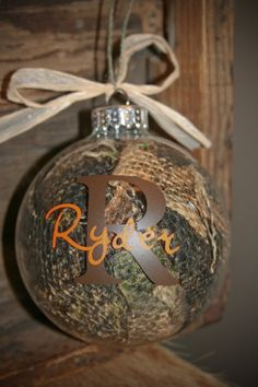 Initial Name Camo Burlap Ornament by RedboneSadies on Etsy, $13.00