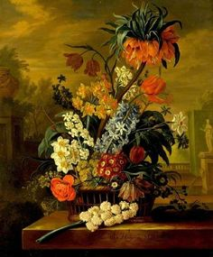 Twelve Months of Flowers: March by Jacob van Huysum   The Fitzwilliam Museum Oil on canvas, 76.2 x 63.5 cm Collection: The Fitzwilliam Museum