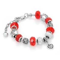 Antique Bracelet with Red Crystal Beads