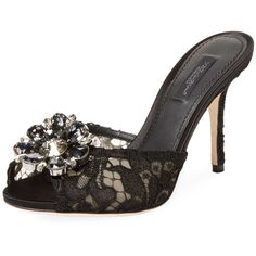 Dolce & Gabbana Women's Embellished Lace Sandal - Black, Size 35 ($699) ❤ liked on Polyvore featuring shoes, sandals, black, peep toe shoes, black lace sandals, embellished sandals, lace-up sandals and lace shoes