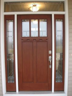 Exterior doors must be sturdy enough to resist the elements and provide insulation to the home. Pre-hung exterior doors are your best bet when it comes to insulations. Brown Front Doors, Wooden Front Doors, Glass Front Door, Glass Doors, Single Front Door Designs, Modern Exterior Doors, Modern Entry, Modern Tv, Exterior Door Handles