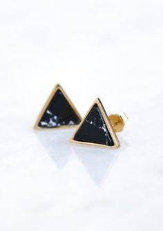 Onyx Triangle Stone Earring - GOLD Stone Earrings, Gold Earrings, Triangle, Enamel, Jewellery, Accessories, Gold Stud Earrings, Gold Pendants, Vitreous Enamel