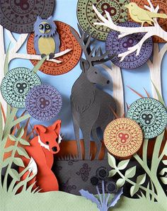 The beautiful paper creations by British artist Helen Musselwhite, based in Manchester. Some delicate, subtle and colorful creations with paper cut and assembl
