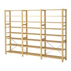 IKEA - IVAR, 3 sections/shelves, Untreated solid pine is a durable natural material that can be painted, oiled or stained according to preference.You can move shelves and adapt spacing to suit your needs. Ikea Shelves, Storage Shelves, Storage Spaces, Shop Shelving, Wall Shelving, Shelving Units, Card Storage, Storage Area, Ikea Us