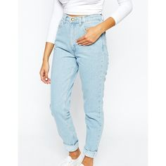 American Apparel High Rise Mom Jeans (€120) ❤ liked on Polyvore featuring jeans, pants, american apparel jeans, highwaist jeans, high waisted jeans, high-waisted jeans and blue high waisted jeans