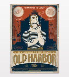 Постер Old Harbor на стену. В доках Нью-Йорка неустанно несли вахту самые крепкие мужики и курили такой же крепкий табак.