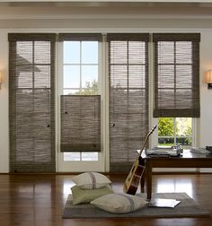 Woven Wood Shades from Budget Blinds come in a wide variety of beautiful styles. Schedule a free in-home consultation to see our full line of Woven Wood Shades. Window Coverings, Window Treatments, Woven Wood Shades, Bamboo Shades, Budget Blinds, Blinds For Windows, Window Blinds, Privacy Blinds, Patio Blinds