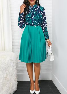 Liligal Date Dress For Women Pleated Long Sleeve Tie Neck Belted Dress Dresses Online, Dresses For Sale, Dresses For Work, Dress Sale, Elegant Dresses, Cute Dresses, Dresses Dresses, Cheap Dresses, Pink High Low Dress