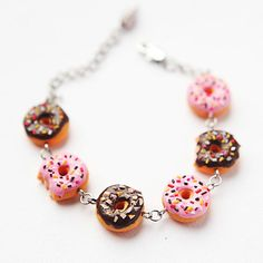 Bracelet of donuts - Fashion Jewelry - Gift for her - free shipping - Fake food Jewelry on Wanelo