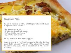Breakfast Pizza. Making for church brunch tomorrow!