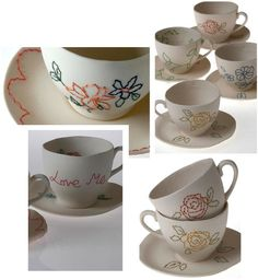 stitched pottery by Claire Coles #embroidery on ceramics http://www.clairecolesdesign.co.uk/