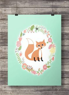 Cute fox woodland print - kids room - childs bedroom - Printable wall art