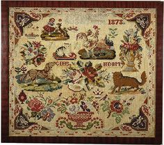 A 19th Century European Sampler Dated 1878 ~ In The Biedermeier  Style