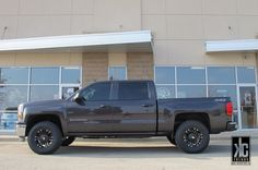 XD Monster 18x9.0 wheels mounted with Toyo Open Country AT2 tires on leveled 2014 Silverado Z71.