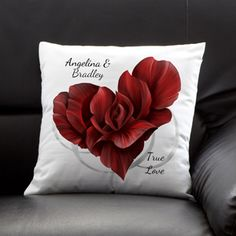 Aww this is so pretty! It's a personalized throw pillow with a blooming rose in the shape of a flower! You can add both your names and a cute message at the bottom ... this would be such a cute Valentine's Day Gift or Wedding Gift!