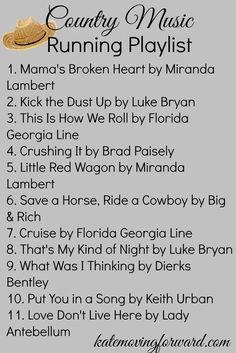 my country music running playlist