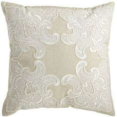 If you're in need of a little adoration, you'll be drawn to our elegant pillow. Detailed needlework offers a soft, romantic take on lace embroidery.