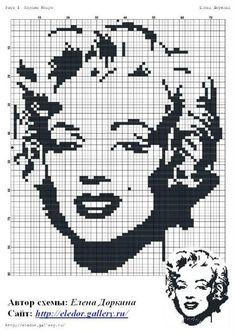 A Marilyn Monroe cross stitch cushion that can be adapted for crochet. Crochet Pixel, Crochet Cross, Crochet Chart, Free Crochet, Funny Cross Stitch Patterns, Cross Stitch Charts, Cross Stitch Designs, Beaded Cross Stitch, Cross Stitch Embroidery