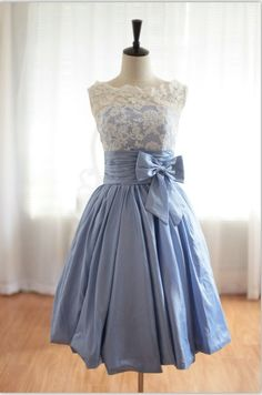 Vintage Inspired Lace BlueTaffeta Wedding Dress Bridal Gown V Back Scalloped Edge Prom Dress  Knee Tea Short Wedding Dress. $149.00, via Etsy.