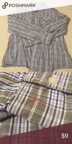 Mens button- down shirt Plaid blues and greys; two pockets; button- up; collar; small paint stain on end of sleeve (pic #2) but could be rolled up Shirts Casual Button Down Shirts