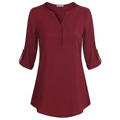 Messic Womens 3/4 Sleeve Chiffon Casual Loose Work Blouse Shirt with V... ($20) ❤ liked on Polyvore featuring tops, blouses, v-neck shirt, 3/4 sleeve blouse, loose blouse, red chiffon blouse and chiffon shirt