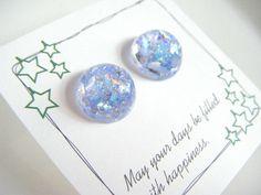 Light blue resin earrings, light blue stud earrings, gift for her,  earrings under 10, cute resin earrings, blue surgical stainless earrings