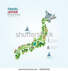 Infographic travel and landmark japan map shape template design. country navigator concept vector illustration / graphic or web design layout. - Shutterstock Premier