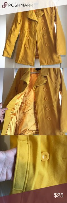 Double breasted wool blend pea coat. Great yellow color. Big yellow buttons. No flaws just a little wrinkled from being packed away. Pockets. Button detail on back also Rue 21 Jackets & Coats Pea Coats