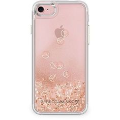 Rebecca Minkoff Women's Glitterfall Peace Sign iPhone 7 Case - Rose... ($42) ❤ liked on Polyvore featuring accessories, tech accessories, apparel & accessories, rose gold and rebecca minkoff