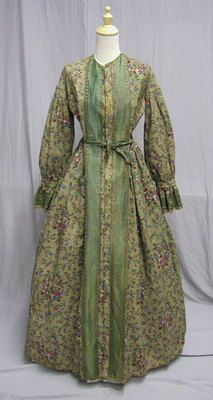 D303 1860's Printed Wool Robe with Amazing Lining Civil War Era | eBay
