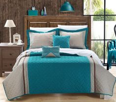 Amazon.com: Chic Home Rio 5-Piece Embroidered Quilt Set, Queen, Teal: Home & Kitchen