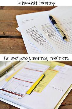 Making a Household Inventory List (free download) via lilblueboo.com #organization